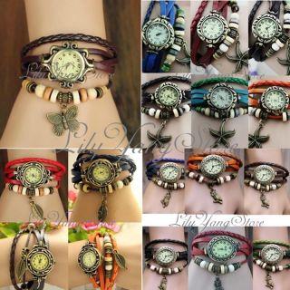 Vintage Damenuhr Armreifuhr Spangeuhr Blätter Armbanduhr Eule Armband Uhren Bild