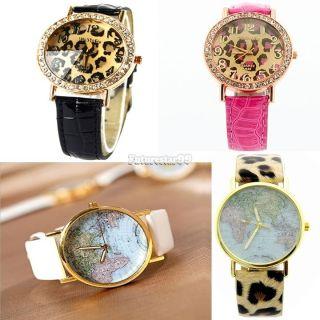 Damen Quarz Leopard Kunstleder / Weltkarte Globe Analoge Armbanduhr Ft Bild
