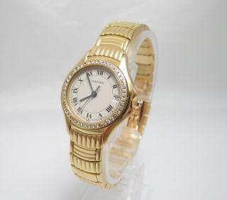 Cartier Cougar 18k / 750 Er Gelbgold Mit DiamantlÜnette Box U.  Zertifikat Bild
