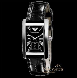 Emporio Armani Damen Uhr Ar0144 Klassik Schwarz Leder Ovp Bild