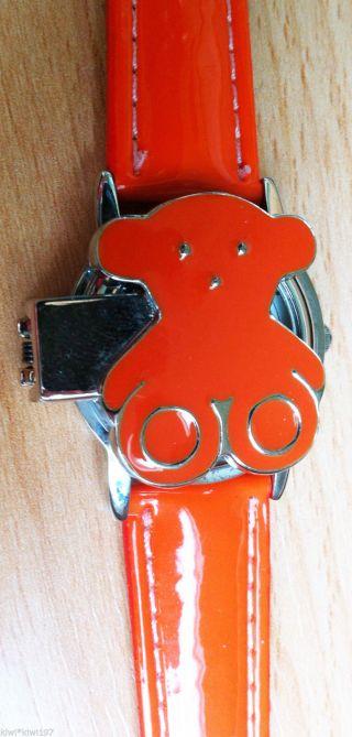 Armbanduhr Bär Orange Quarz Mode Uhr Damen Analog Lackleder Armband Ungetragen Bild