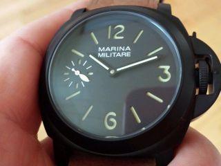 Marina Militare All Black 44 Mm Swiss Eta 6497 - 1 Safirglas 100m 2 Bänder Schwarz Bild