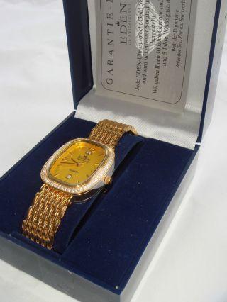 Eden Quartz Damenarmbanduhr Vergoldet Mod.  11044d Made In Switzerland Bild
