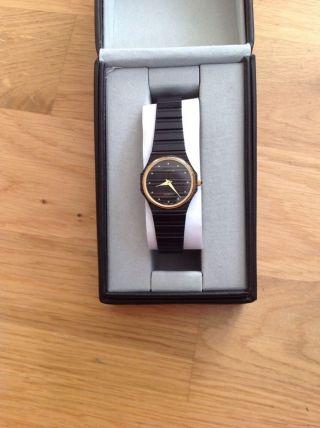 Armbanduhr Damen Mars Quartz Schwarz Gold Swiss Made Weihnachtsgeschenk Bild
