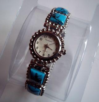 Elegante Damen Uhr Analog Edelstahl Quarz Türkis Steine Armband Dehnbar Bild