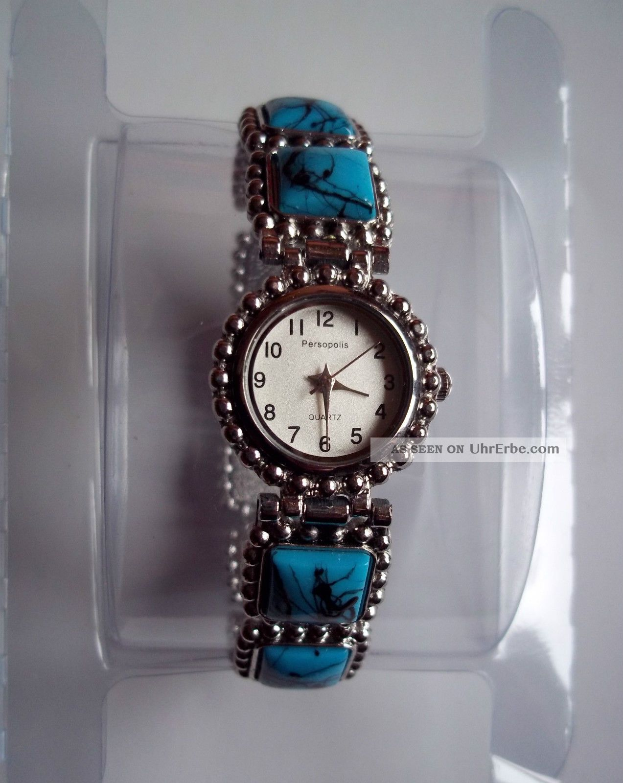 Analog Türkis Edelstahl Steine Dehnbar Armband Elegante Uhr Damen Quarz hrtsQd