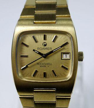 Vintage Roamer Rockshell Mark V Automatik Herren Armbanduhr Datum Vergoldet Bild