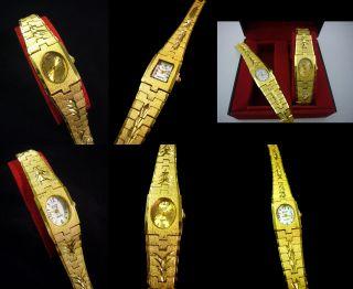 Top Klassische Damenuhr Mode Gold Uhr Eckig Oval Vergoldet Armbanduhr Analog Bild