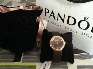 Pandora Damen Uhr Lederarmband,  Golden/braun 812016bn. Bild