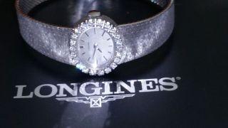 Longines Flagship Damenuhr In 750 / 18 Karat Weißgold Mit Diamanten Bild