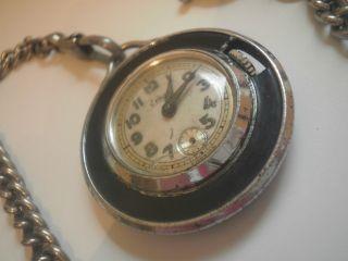 Rar Sehr Alte Mechanische Emes Taschenuhr Mit Kette - Selten Für Sammler Bild