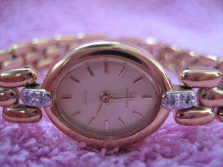 Vergoldete Damen Armbanduhr Dugena Mit 4 X Kleines Steine In Weiß Bild