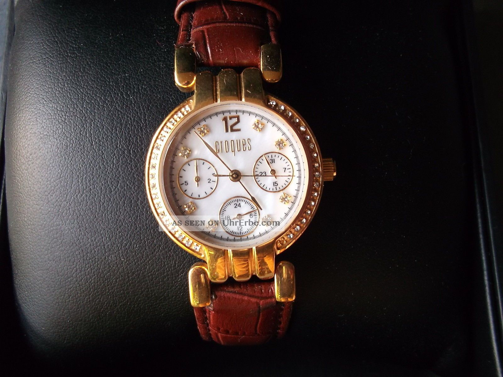 Damenuhr Armbanduhr Vergoldet Und Mit Datum Manufaktur Croques 7938 Armbanduhren Bild