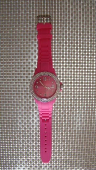 Armbanduhr Pink Rosa Silikon Gummi Kristalledition,  Swarovski Elemente/strass Bild