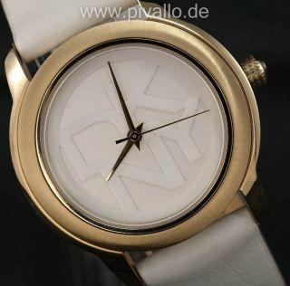 Dkny Donna Karan Ny Damenuhr / Damen Uhr Leder Gold Weiß Ny8827 Bild