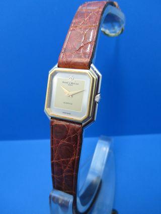 Elegante Baume & Mercier Geneve Armbanduhr Quartz Dau Mit Krokodillederarmband Bild