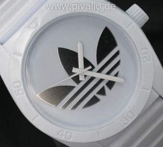 Adidas Santiago Herrenuhr / Damenuhr / Uhr Silikon Weiß Silber Adh2703 Bild
