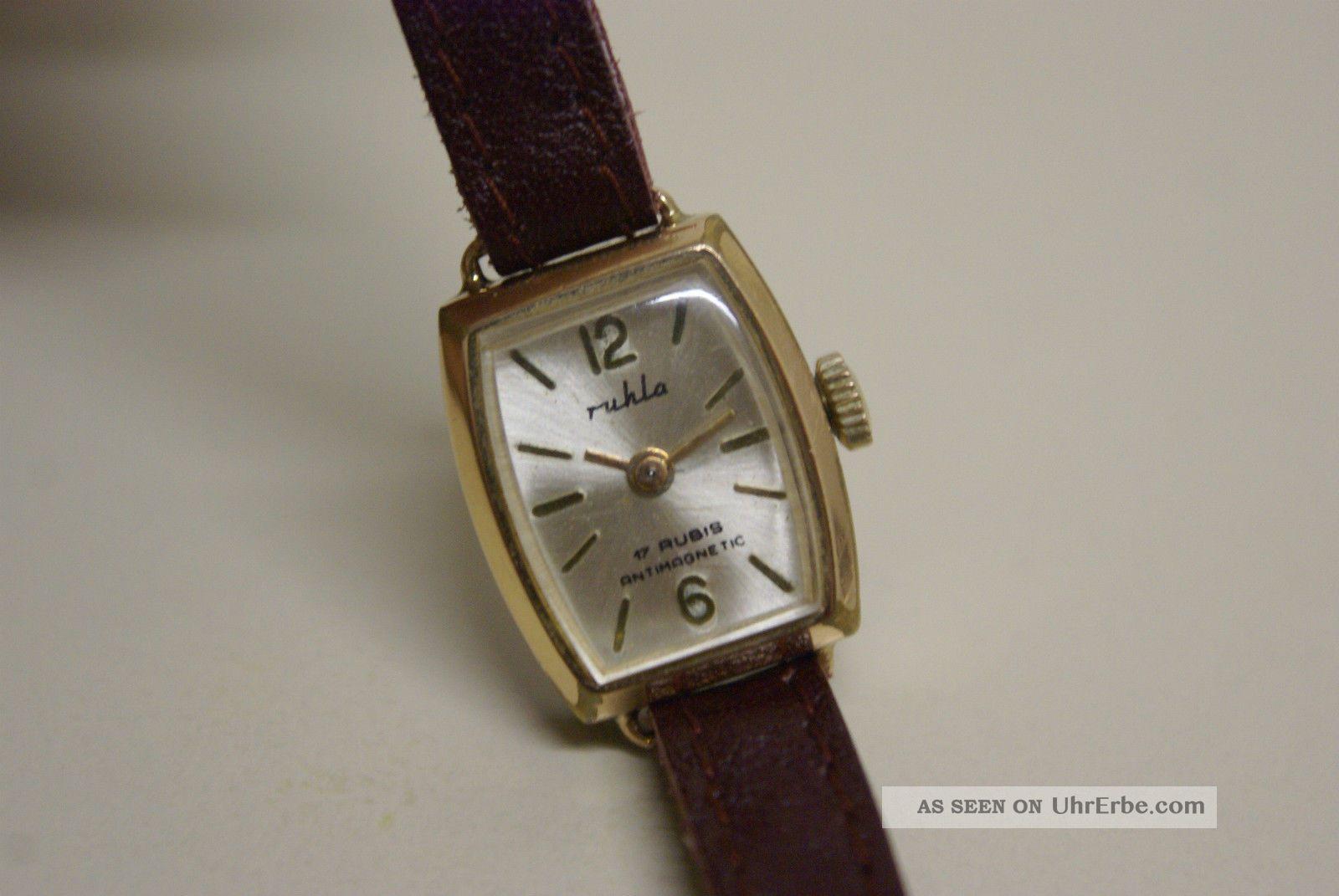Ruhla Damenuhr,  Handaufzug,  Läuft Sehr Gut Armbanduhren Bild