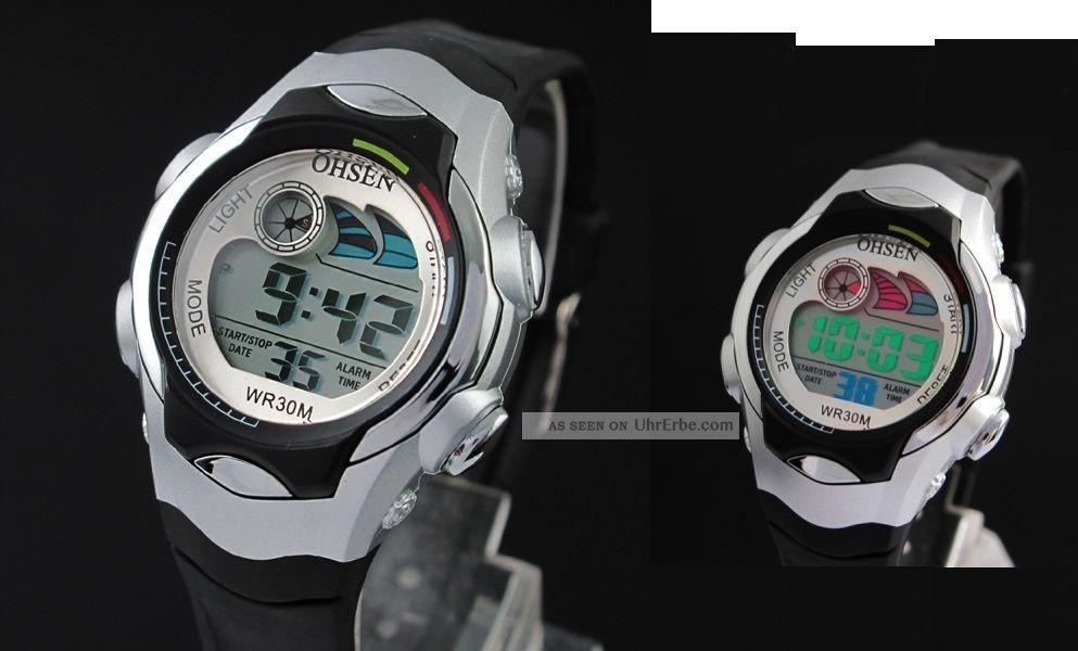 digital armbanduhr f r kinder mit datum licht stoppuhr sport uhr blau rosa. Black Bedroom Furniture Sets. Home Design Ideas