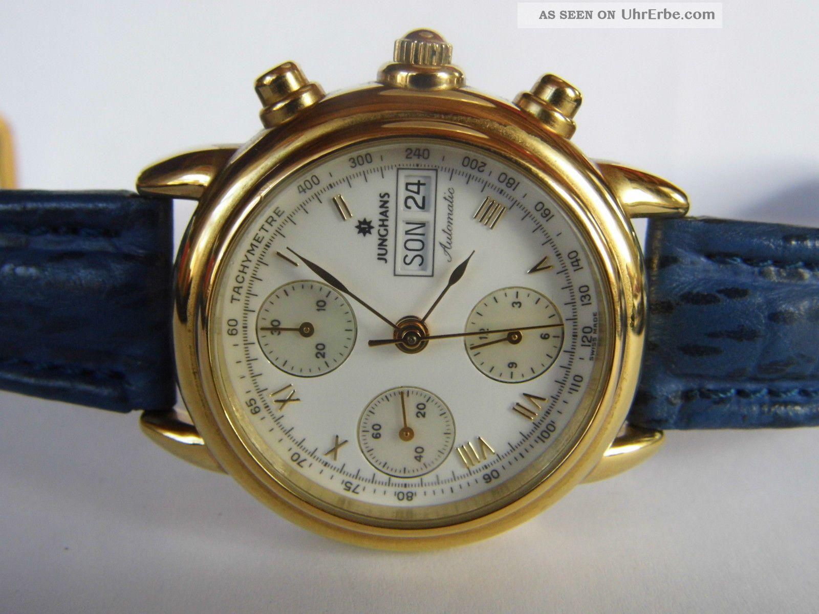 Herrenuhr,  Automatic - Chronograph Junghans Vergoldet Eta 7750 - Werk Läuft Armbanduhren Bild