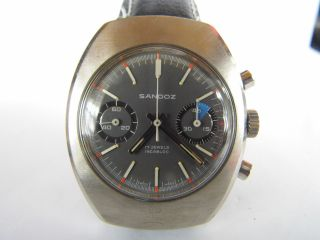 Herrenuhr Sandoz Chronograph Handaufzug Valjoux 7733 Läuft In Edelstahl Bild
