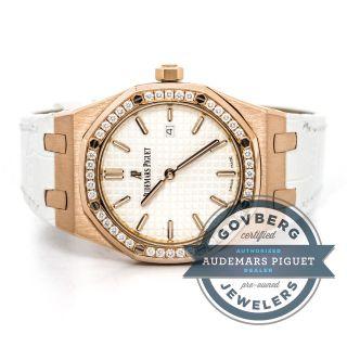 Audemars Piguet Dame Royal Oak 18kt Roségold Diamant Uhr 67651or.  Zz.  D010c Bild