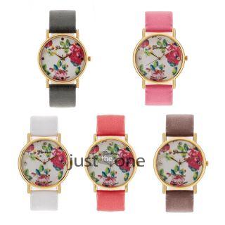 Fashion Damen Frau Rose Blume Design Kunstleder Quarz Armbanduhr Uhr Watch Bild