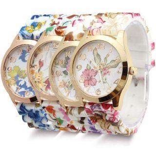 Damen - Mode - Uhr Silicon Band Jelly - Sport - Quarz - Blumen - Druck Bild