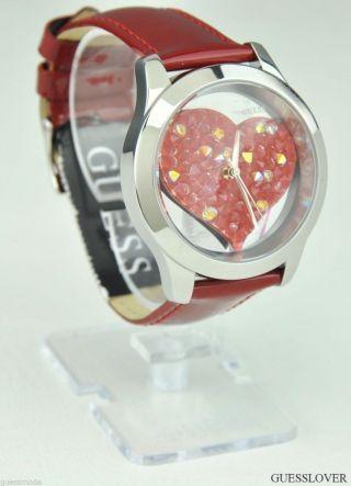 Uhr Uhren Guess Armbanduhr Damen Rot Shimmer Leder Quarz Deu Bild