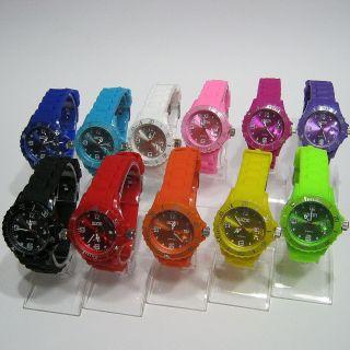 Bunte Silikon Uhr Mit Datum Groß 45mm - Sportuhr - Armbanduhr - Kinderuhr - Bild