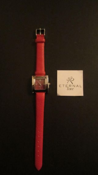 Elegante Damen Uhr Damenuhr Quartz Uhrwerk Rotes Lederimitat Armband Bild