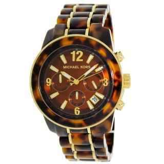 Damen Armbanduhr Michael Kors Schildpatt Acetat & Goldfarben Stahl Chrono Mk5805 Bild