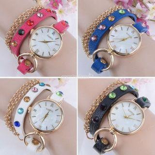 Damen Retro Synthetische Lederband Wrap - Uhr Rhinestone - Armband - Armbanduhr Bild
