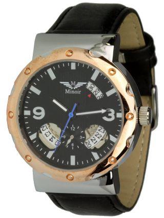 Minoir Uhren Modell Cergy - Automatikuhr Rotgold / Schwarz,  Datum Ø 42 Mm Bild