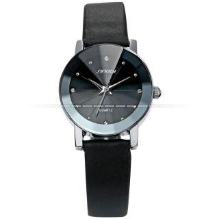 Mode Damenuhr Kristall Anolog Quarzuhr Damen Uhr Kunstleder Armbanduhr Schwarz D Bild