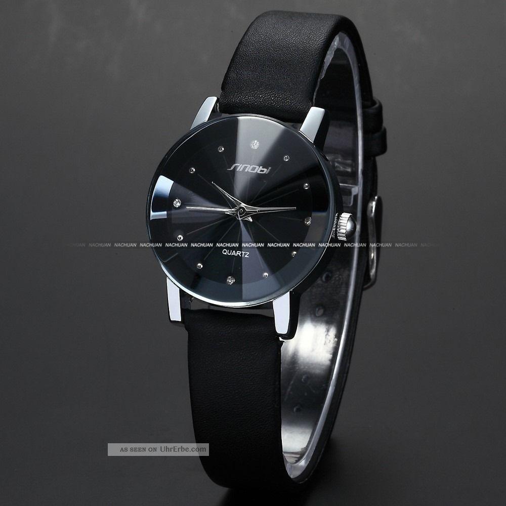 mode damenuhr kristall anolog quarzuhr damen uhr kunstleder armbanduhr schwarz d. Black Bedroom Furniture Sets. Home Design Ideas