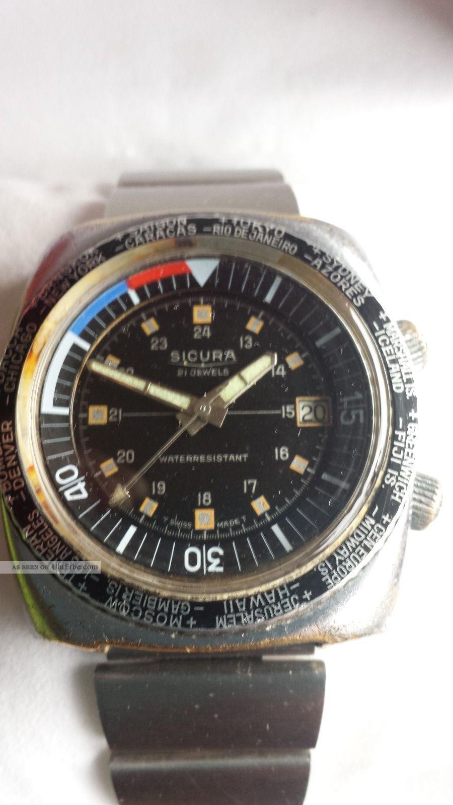 Sicura (breitling) Gmt Mit Kalender 21 Jewels Aus Den 60 - 70 Er Jahren Armbanduhren Bild