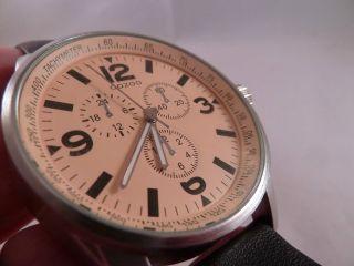 Oozoo Tachymeter Xxl Armbanduhr Oozoo Leder Armband Analog Bild