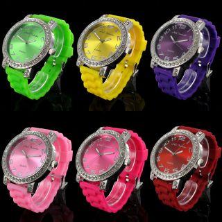 Nele Fortados Armbanduhr Strass Colorful World Damen Uhr Watch Silikon 50mm Bild