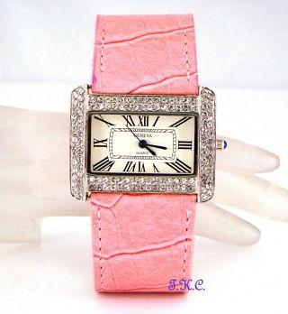 Modeschöpfer Silber,  Rosa Veganen Leder Damen Anzug Wag Uhr Mit/ Swarovski Bild