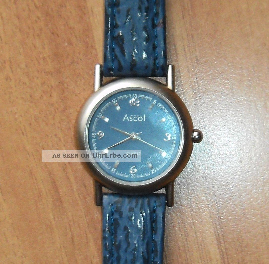 blaue damen quarz armbanduhr von ascot mit echtem. Black Bedroom Furniture Sets. Home Design Ideas