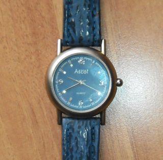 Blaue Damen - Quarz - Armbanduhr Von Ascot Mit Echtem Lederarmband Ungetragen Bild