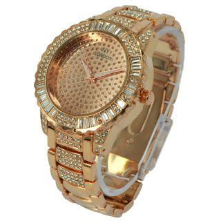 Damen Herrenmode Kristall - Uhr Rose Gold Promi Metall Ny London Präsentieren Uk Bild