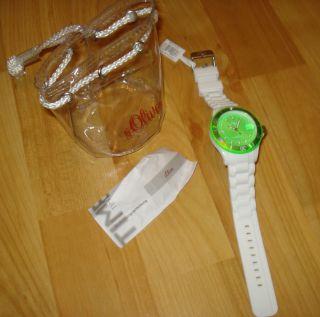 S Oliver Uhr / Datum Mit Silikon Armband Grün /weiß & Ovp Bild