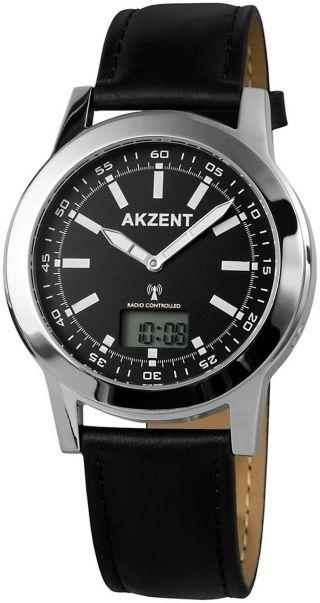 Weltweite Funk Armbanduhr Herrenuhr Analog Digital Dcf77 Atom Uhr Signal Schwarz Bild