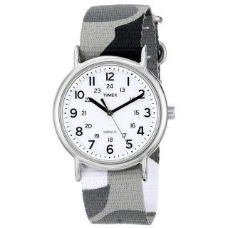 Armbanduhr Timex Unisex Weekender Indiglo Weiß Grauweißes Nylonband T2p366 Bild