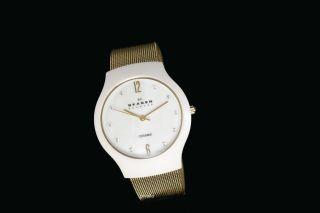 Skagen Damenuhr / Damen Uhr Ceramic Keramik Perlmutt Gold Strass 817scwg Bild