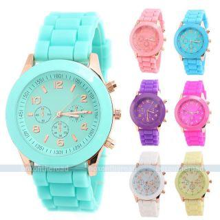 Geneva Armbanduhr Silikon Watch Uhr Damen Herren Kinder Quarz Uhren Militär Bild