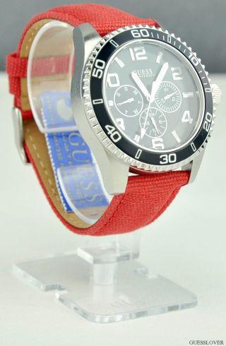 Uhr Guess Rot Leder Multifunction Herren Neuf U10068g1 Deu Bild