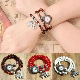 Damen Retro Wickeln Achat Elefant Anhänger Uhr Armband Wickeluhr Armbanduhrquarz Bild